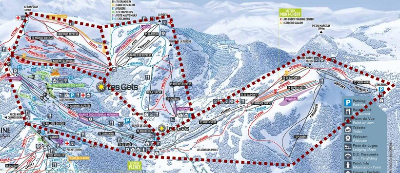 Les Gets piste map including sectors