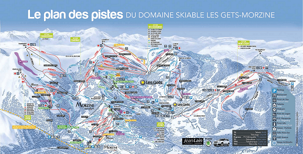 Mountain restaurants plotted on the piste map